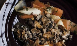Mushroom ragout and root vegetable pasta